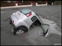 Car Stuck in Liquefied Soil
